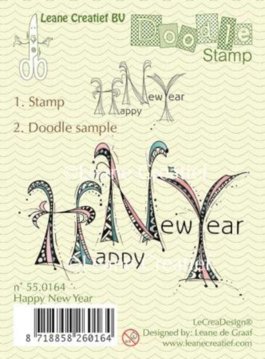 LeCrea - Doodle clear stamp Happy New Year