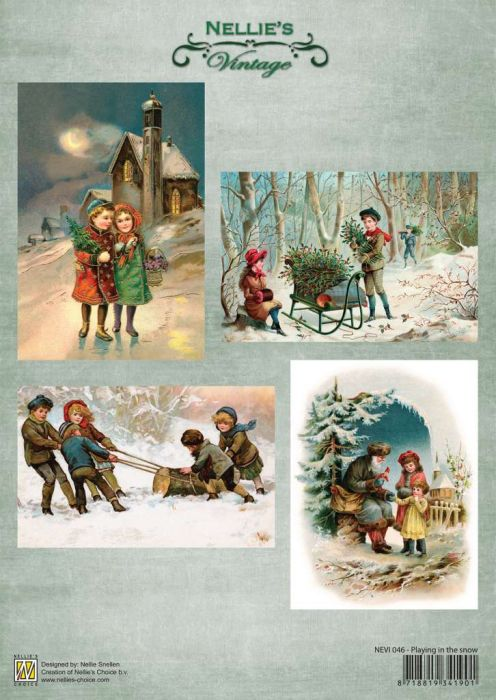 Nellie`s Choice Decoupage knipvel Vintage Playing in the snow A4