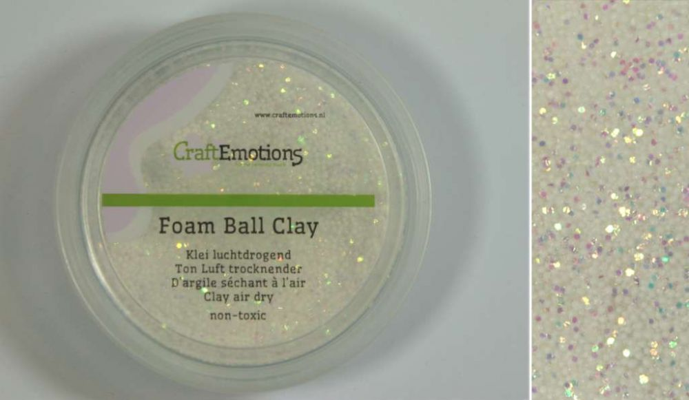 Foamball clay - luchtdrogende klei - wit glitter 15gr