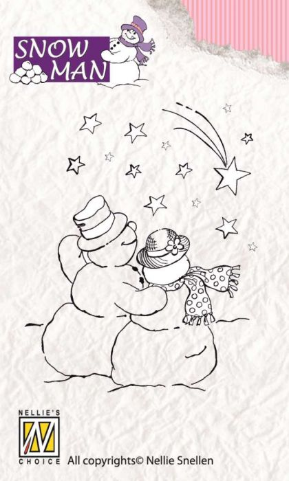 Nellie`s Choice Clearstamp Snowmen Falling star