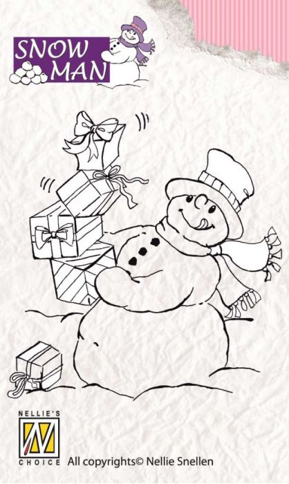 Nellie`s Choice Clearstamp Snowmen Lot`s of presents