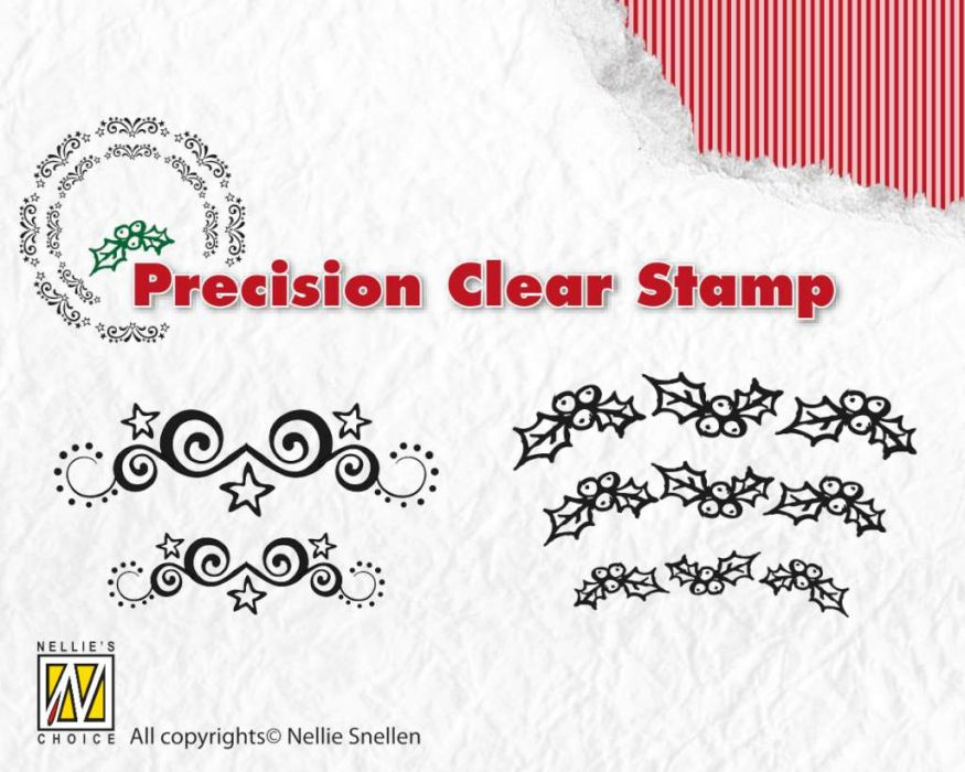 Nellie`s Choice Xmas precision clearstamp Starswirls-holly