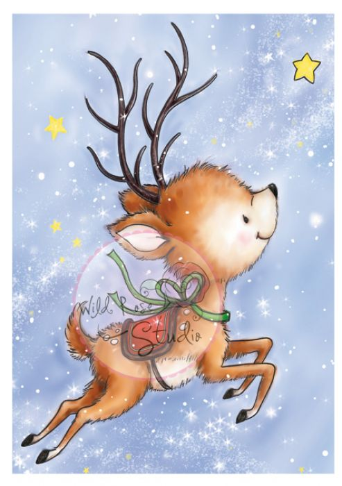 Wild Rose Studio`s A7 stamp set Reindeer Flying
