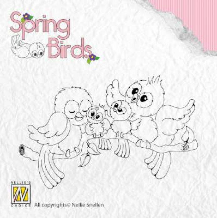 Nellies Choice Clearstempel - Spring-birds Happy Family