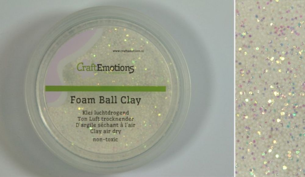 Foamball clay - luchtdrogende klei - wit glitter 30gr