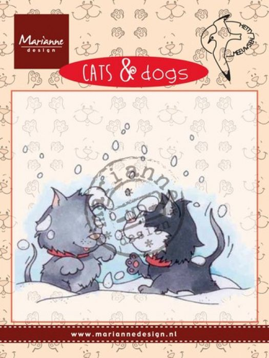 Marianne D Clear stamp Cats & dogs - snow fight CD3502