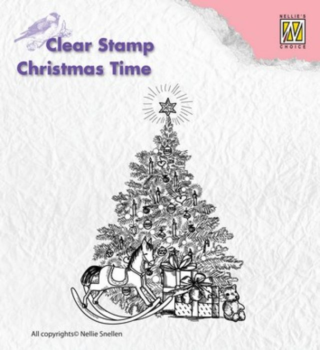 Nellies Choice Clearstempel - Christmas time kerstboom+kado`s CT017