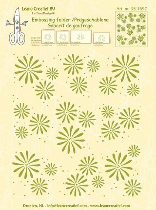 LeCrea - Embossing folder background Flowers 14.4x16cm 35.1697