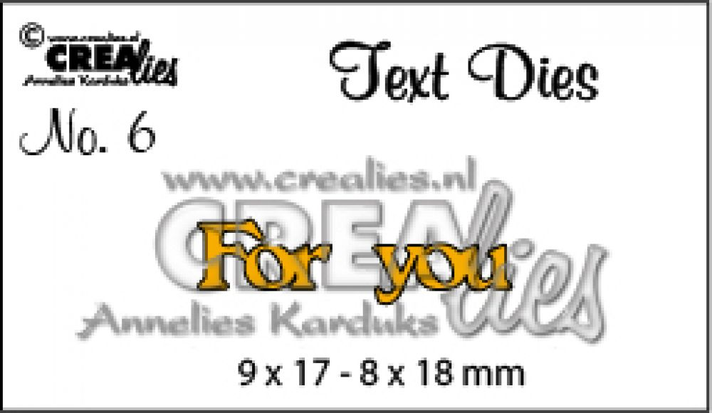 Crealies tekststans (Eng) For You 9 x 17 - 8 x 18 mm / CLTD06