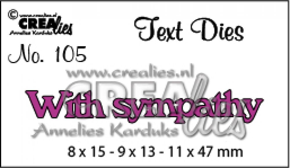Crealies tekststans (Eng) With Sympathy 8x15-9x13-11x47 mm / CLTD105