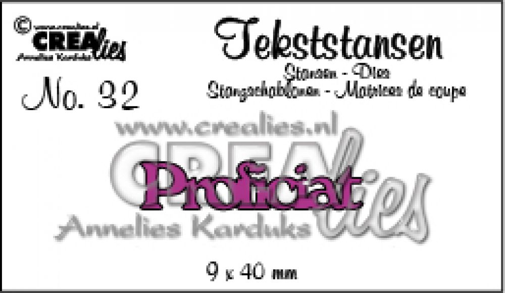 Crealies Tekststans - proficiat 9 x 40 mm / CLTS32