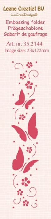 LeCrea - Border embossing folder Butterflies  23x122mm