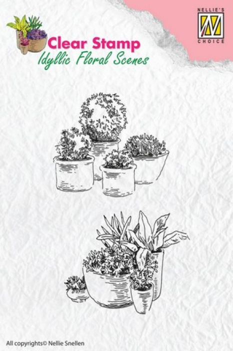 Nellie`s Choice Clearstamp - Idyllic Flora Potten met bloemen IFS003