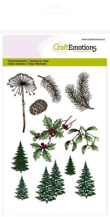 CraftEmotions clearstamps A6 - kerst bomen, takken Christmas Nature