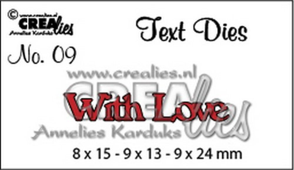 Crealies tekststans (Eng) nr. 9 With Love 8x15 - 9x13 - 9x24 mm / CLTD09