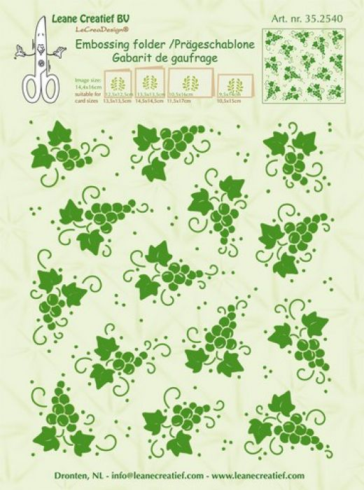 LeCrea - Border embossing folder background Grapes 35.2540 14,4x16cm