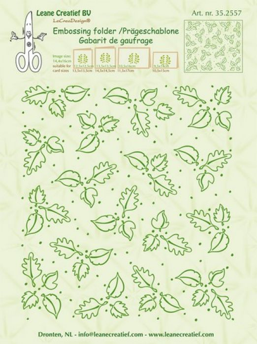 LeCrea - Border embossing folder background Leaves 35.2557  14,4x16cm