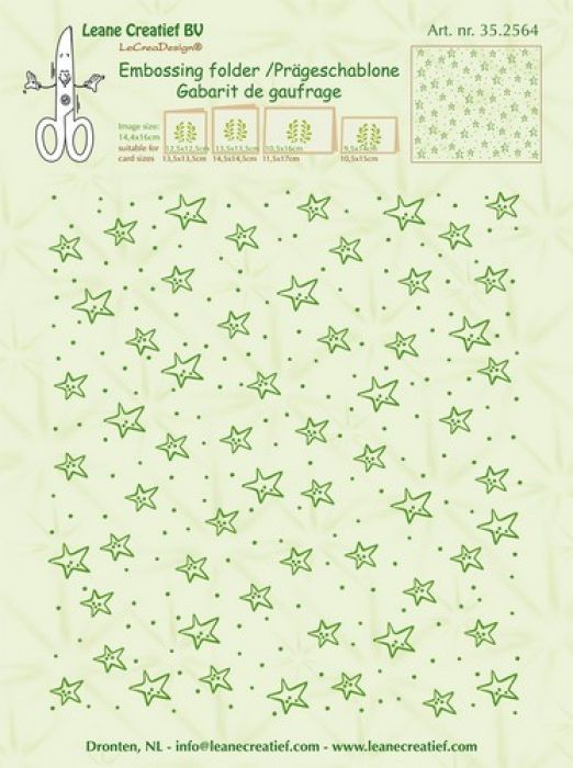 LeCrea - Border embossing folder background Stars 35.2564  14,4x16cm