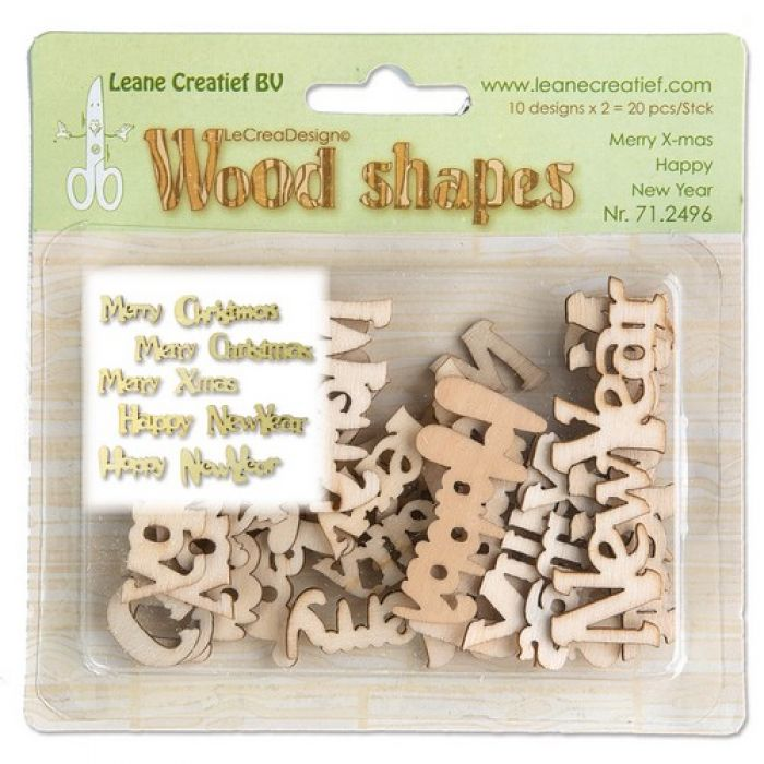 LeCrea - Wood shapes Merry Christmas & Happy New Year 71.2496
