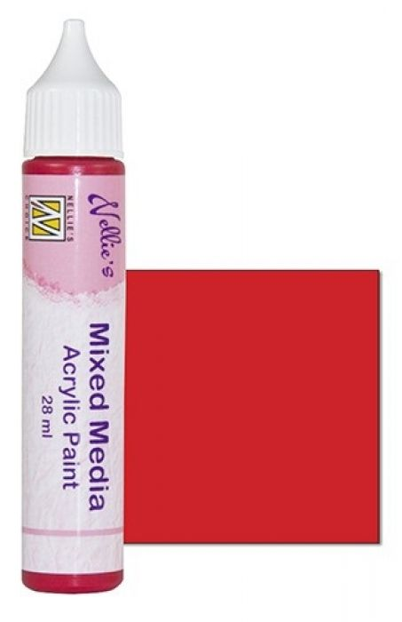 Nellies Choice Mixed media verf satijn rood 28ml MMAP011