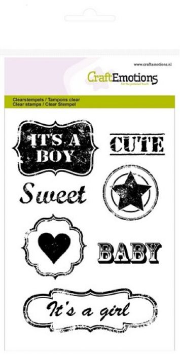 CraftEmotions clearstamps A6 - vintage baby tekst labels (ENG) Lovely Baby