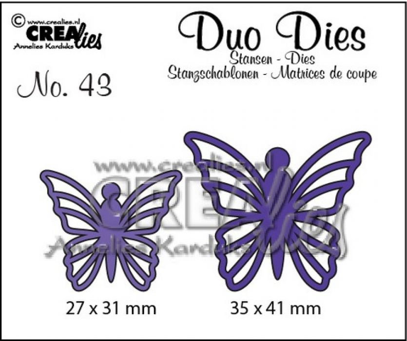 Crealies Duo Dies no. 43 Vlinders 5 35x41mm-27x31mm / CLDD43