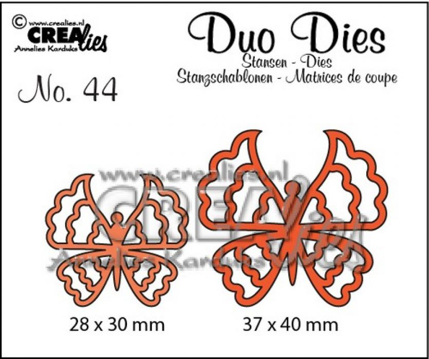 Crealies Duo Dies no. 44 Vlinders 6 37x40mm-28x30mm / CLDD44