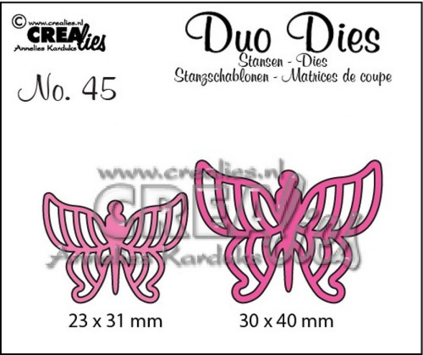 Crealies Duo Dies no. 45 Vlinders 7 30x40mm-23x31mm / CLDD45