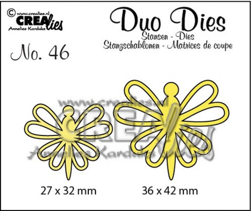 Crealies Duo Dies no. 46 Vlinders 8 36x42mm-27x32mm / CLDD46