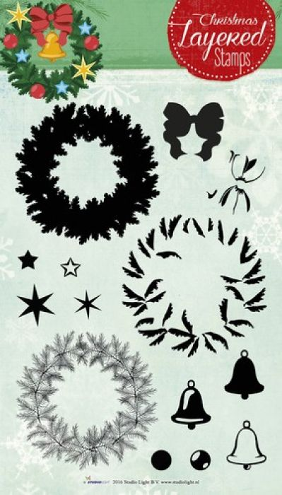 Studio Light Layered Clearstempel Christmas A5 nr 12 STAMPLS12