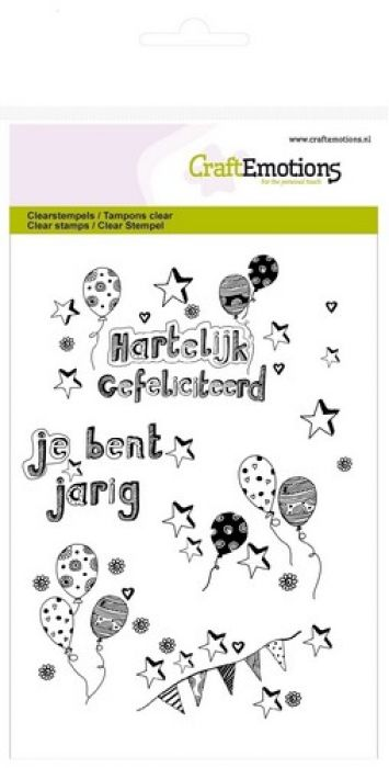 clearstamps A6 - jarig ballonnen handlettering (NL)