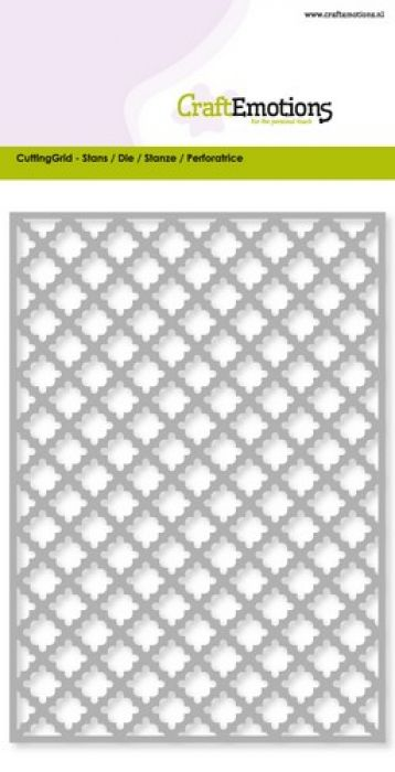 CraftEmotions Die - Cutting Grid - ruit scallop Card 10,5x14,8cm (