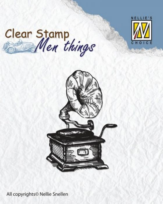 Nellie`s Choice Clearstamp - Men things Gramophone CSMT002 50x35mm