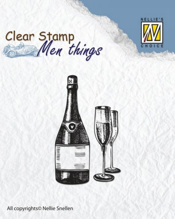 Nellie`s Choice Clearstamp - Men things Wijn CSMT003 50x30mm