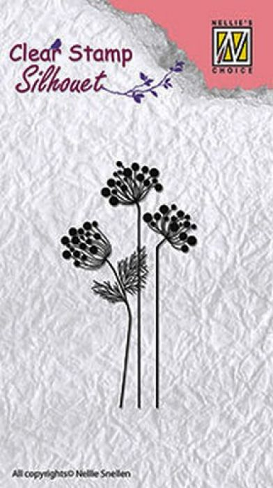 Nellie`s Choice Clearstamp - Silhouette flower 10 SIL016 85x36mm