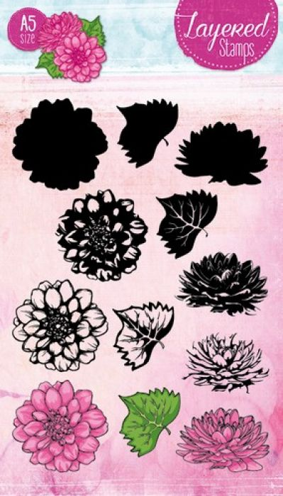 Studio Light Layered Clearstempel Chrysant A5 nr 19 STAMPLS19