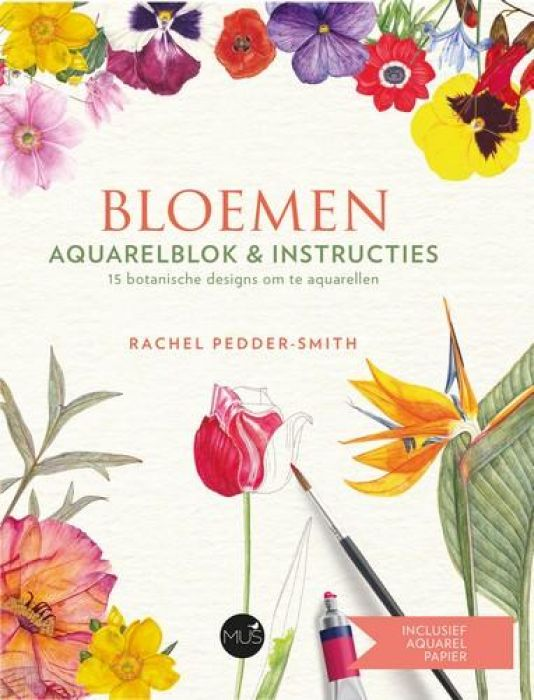BBNC boek - Bloemen aquarelblok & instructies Rachel Pedder-Smith