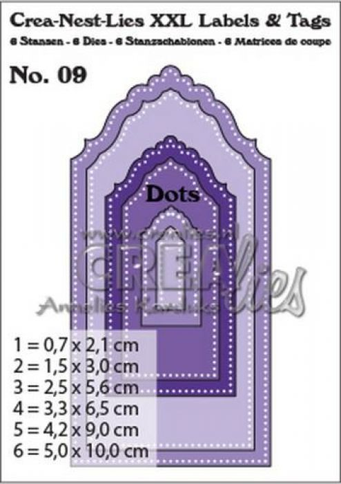 Crealies Crea-nest-dies XXL no. 9 Labels and tags with dots CLLT09 / 50 x 100 m