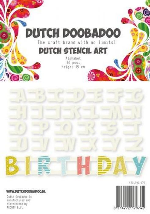 Dutch Doobadoo Dutch Stencil Art Alfabet A-Z NR2 (26 stencils) 12cm 470.990.070