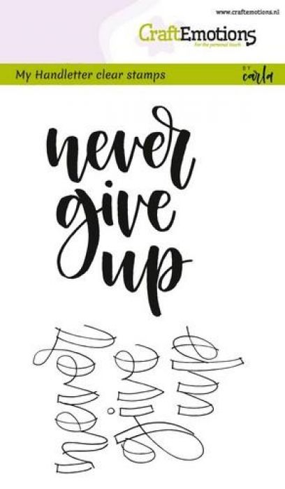 clearstamps A6 - handletter - never give up