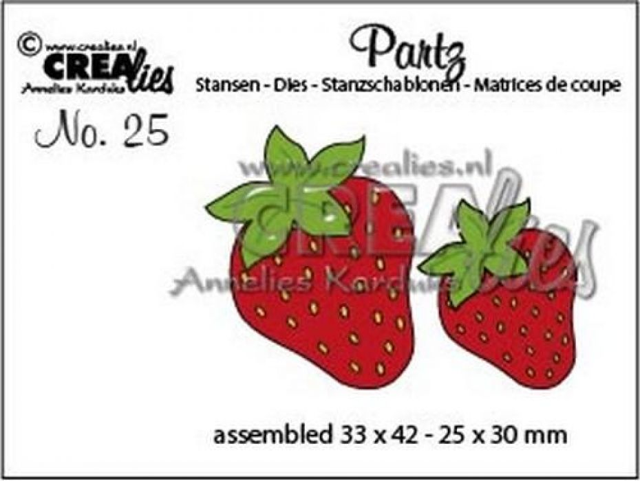 Crealies Partz no. 25 Aardbeien CLPartz25 / 33x42 - 25x30 mm