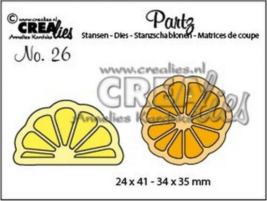 Crealies Partz no. 26 Citroen + Sinasappel plak CLPartz26 / 24x41 - 34x35 mm