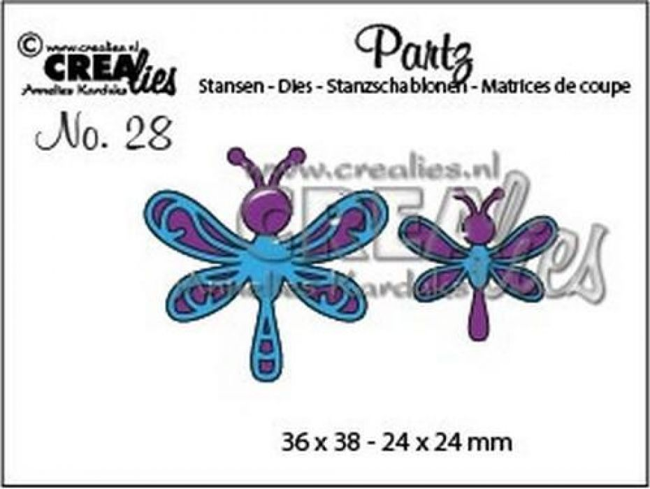 Crealies Partz no. 28 2x libelle CLPartz 28 / 36x38-24x24mm