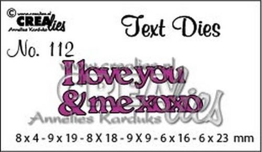 Crealiestekststans (Eng) nr. 112 I love you & me xoxo CLTD112 8x4 - 6x23 mm