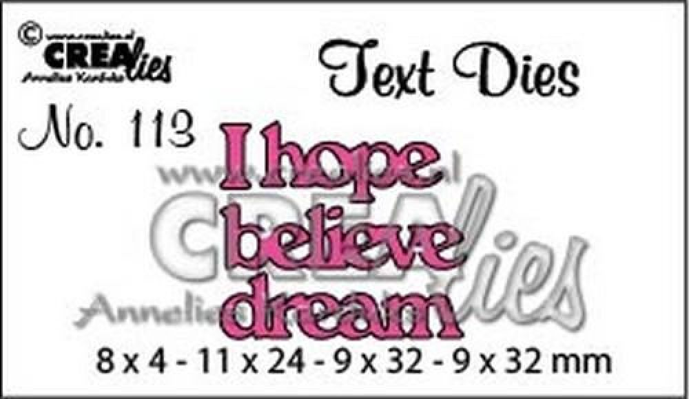 Crealiestekststans (Eng) nr. 113 I hope, believe, dream CLTD113 8x4 - 9x32mm