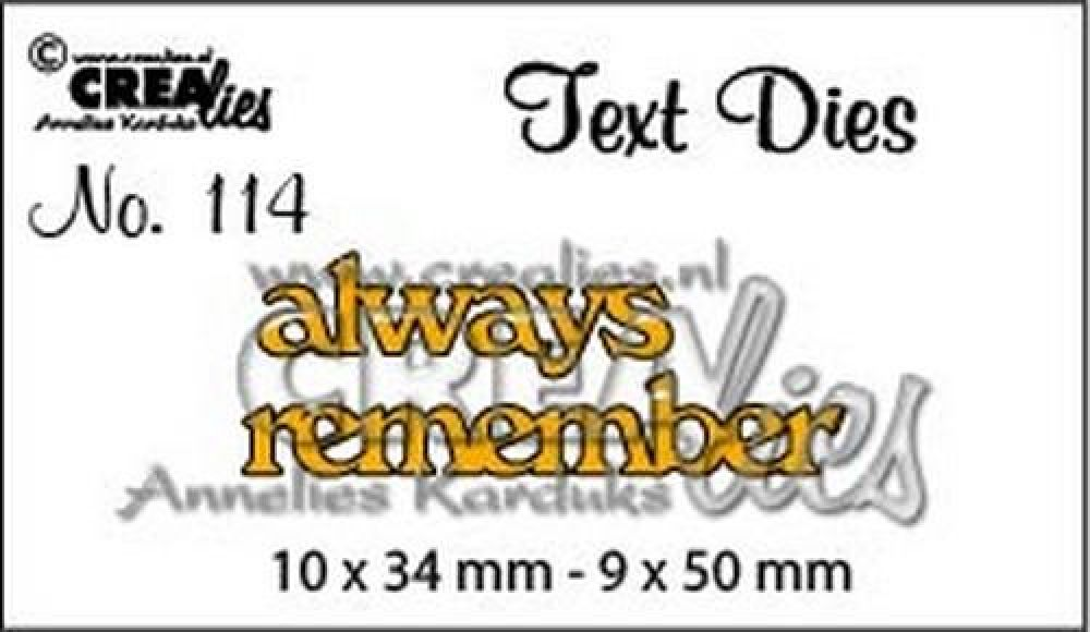 Crealiestekststans (Eng) nr. 114 always remember CLTD114 10x34 - 9x50mm