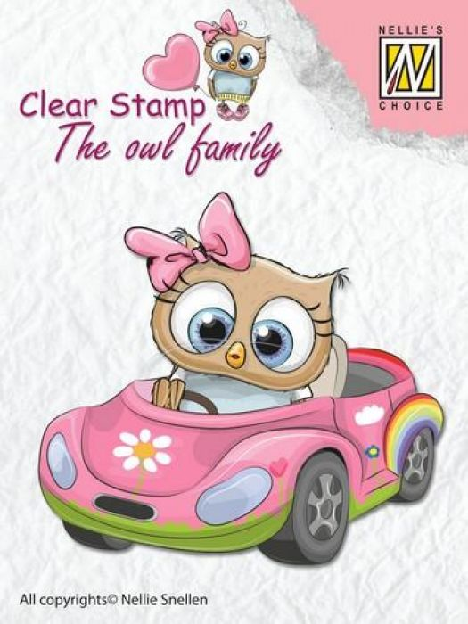 Nellies Choice Clearstempel - The owl Family auto CSO010  60x65mm