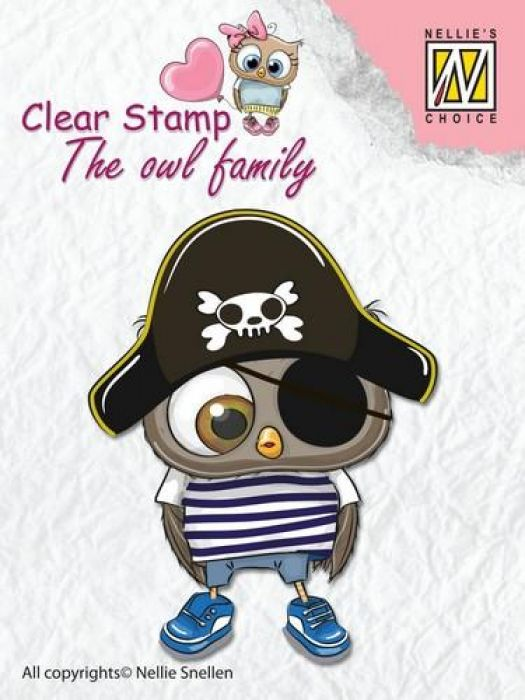 Nellies Choice Clearstempel - The owl Family piraat CSO011  65x50mm