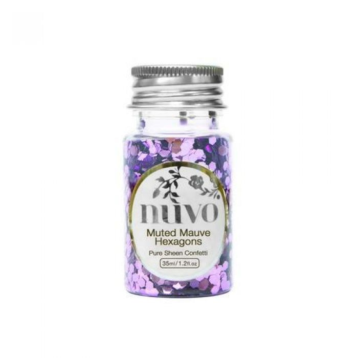 Nuvo Confetti - muted mauve hexagons 35ml bottle 1061N