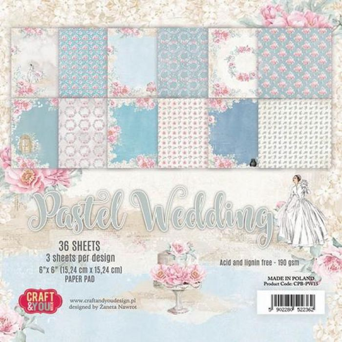 Craft&You Pastel Wedding Small Paper Pad 6x6 36 vel CP-PW15 (